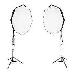 Kit 2x Eclairage Daylight 1000 watts + Softbox octogonale Ø 60cm - Walimex Pro Kit Daylight