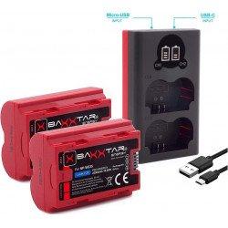 Pack 2X Batteries Fuji Fujifilm NP-W235 (2250mAh réels) + Chargeur Double - Compatible avec Fuji X-T4 Batterie Fuji