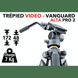 Trépied vidéo Vanguard Alta Pro 2263AV avec tête vidéo Alta Ph-114V Trépied vidéo