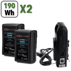 Kit 2x Batteries V-Mount 190Wh - PRO BP-190 WS - 13200 mAh Batterie V-mount / V-lock