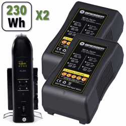 Kit 2x Batteries V-Mount 230Wh - Bresser RL-230S 14.8V + Chargeur double Batterie V-mount / V-lock