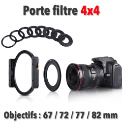 Porte Filtre objectifs 67 / 72 / 77 / 82 / + Support Filtre Photo Filtre 100x100mm