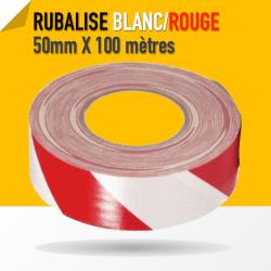 Warning Gaffer Blanc / Rouge - Tape 50mm x 100m
