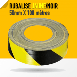 Gaffer Warning Noir / Jaune - 50mm x 100m Gaffers & Adhesifs