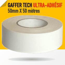 Gaffer Toile Noir PE Super Adhésif - 50mm X 50 m - Blanc - 8226 Gaffers & Adhesifs