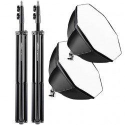 Kit éclairage Walimex Pro Daylight 500 Watts + Softbox octogones & trépied Kit Daylight