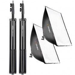 Kit éclairage Walimex Pro Daylight 500 Watts + Softbox Rectangulaire & trépied Kit Daylight