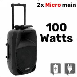 Enceinte 100 w + 2x Micro main - Batterie & Secteur - OMNITRONIC MES-12BT2 Sono & DJ