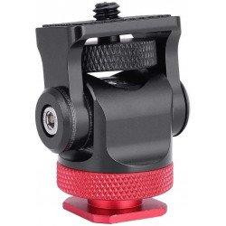"""Mini tête rotative 180° & 360°à billes pour griffe de flash + adaptateur 1/4 """"vis Fixation & Accessoire"""