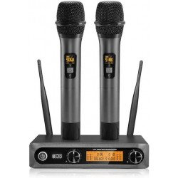 Systèmes de Micro UHF Double Portable avec 2x Micros sans Fil - Tonor 202 Sono & DJ