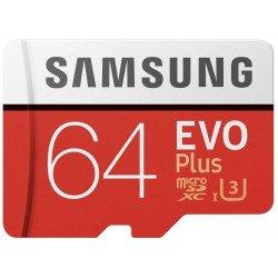 Samsung MB-MC64GA/EU Carte mémoire MicroSD Evo Plus 64G avec adaptateur SD - Rouge/Blanc CARTE MICRO SD