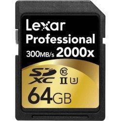 Lexar 64GB Professional 2000x UHS-II SDXC - 300 Mo/s Carte SD (SD/SDHC/SDXC)