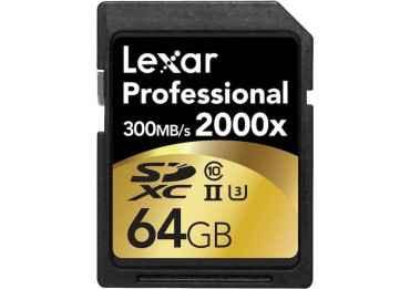Lexar 64GB Professional 2000x UHS-II SDXC - 300 Mo/s