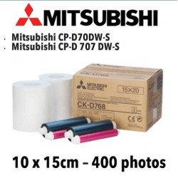Papier 10X15cm - 400 tirages - Mitsubitchi CP-D70DW