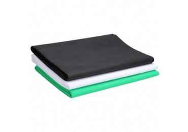 Fond studio Tissu 3x4m - Blanc, Noir, Vert Fond Tissu & Mousseline