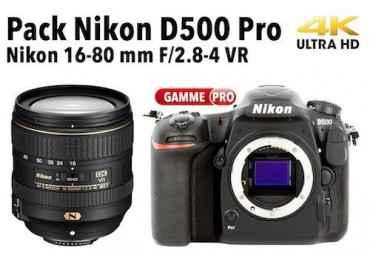 Pack Nikon D500 + objectif AF-S 16-80 mm f/2.8-4.0 VR Pack Nikon