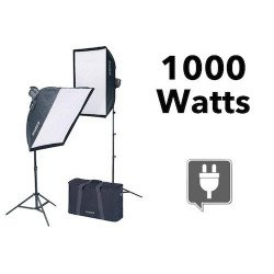 kit d'éclairage continu 1000 Watts + 2 Softbox - Kaiser 1010