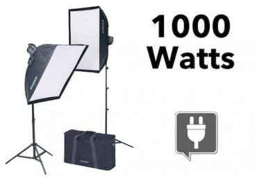 kit d'éclairage continu 1000 Watts + 2 Softbox - Kaiser 1010