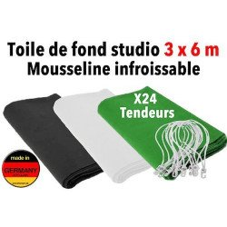 Fond studio photo 3x6 m en mousseline infroissable - Straiville Pro