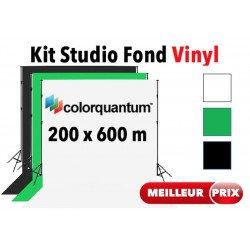 Kit Studio vinyl 2x6 m - Support + Fond Vinyl (Blanc, Noir ou Vert) Fond photo & vidŽo