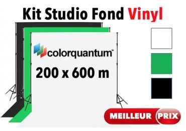 Kit Studio vinyle 2x6 m - Support + Fond Vinyle (Blanc, Noir ou Vert) Fond photo & vidéo