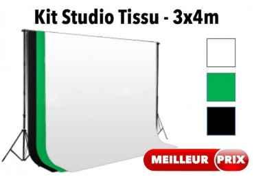 Fond studio photo support + toile tissu 300x400 cm Fond Tissu & Mousseline
