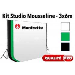Kit Studio mouss. Manfrotto - Blanc / Noir / Vert Fond Tissu & Mousseline