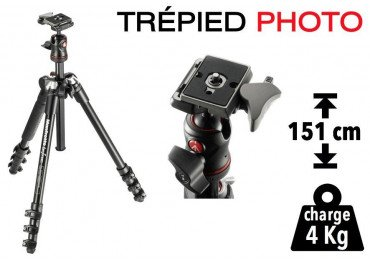 Trépied Photo Manfrotto BeFree compact et léger (aluminium)