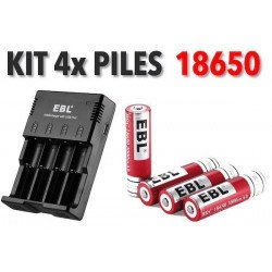 Kit 4x Batteries Li-ion 18650 + Chargeur Pile & Accu