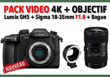 Pack Vidéo GH5 + Sigma 18-35 F1.8 + Bague commlite Hybride Panasonic