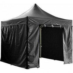 Barnum pliant 3x3m avec pack 4 murs amovibles - noir - Chapiteau pliant Barnum & Tente