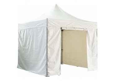 Barnum pliant 3x3m avec pack 4 murs amovibles - blanc - tente pliante